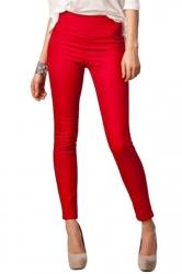 Womens High Waist Skinny Back Zipper Plain Pencil Leisure Pants Red