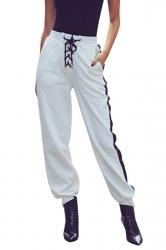 Womens High Waisted Lace Up Oversized Plain Leisure Pants White