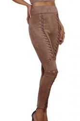 Womens Sexy Lace Up Zipper High Waisted Plain Ripped Leggings Coffee