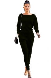 Womens Crew Neck Long Sleeve Top&Pocket Leisure Pants Plain Suit Black