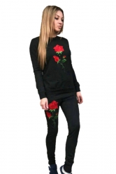 Long Sleeve Top&Drawstring Pants Rose Embroidered Sports Suit Black
