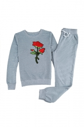 Womens Long Sleeve Top&Drawstring Pants Rose Embroidered Suit Gray