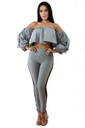 Off Shoulder Ruffle Bell Sleeve Crop Top&High Waist Leggings Suit Gray