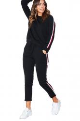 Womens Long Sleeve Top&Drawstring Pants Strip Leisure Suit Black