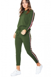 Womens Long Sleeve Top&Drawstring Pants Strip Leisure Suit Green