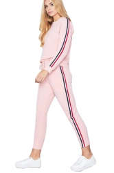 Womens Long Sleeve Top&Drawstring Pants Strip Sports Leisure Suit Pink