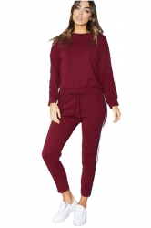 Womens Long Sleeve Top&Drawstring Pants Strip Sports Leisure Suit Ruby