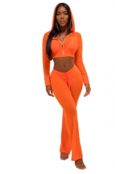 Womens Sexy Zipper Hooded Crop Top&Drawstring Pants Sports Suit Orange
