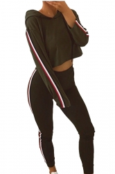 Hooded Crop Top&High Wasit Leggings Stripe Sports Suit Army Green