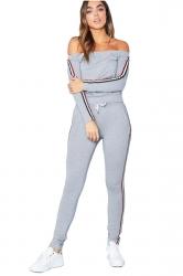 Womens Off Shoulder Top&Skiny Leggings Stripe Long Sports Suit Gray