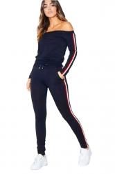 Off Shoulder Top&Drawstring Leggings Stripe Long Sports Suit Navy Blue