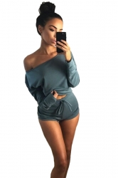 Womens One Shoulder Long Sleeve Top&Drawstring Short Pants Suit Blue