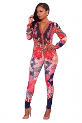 Womens Sexy V-Neck Blouse&Skinny Leggings Floral Printed Long Suit Red