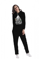 Drawstring Hooded Christmas Tree Printed Top Long Sweater Suit Black