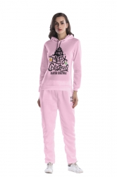 Womens Pullover Hooded Christmas Tree Printed Long Sweater Suit Pink