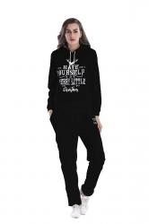 Womens Pullover Hooded Christmas letter Printed Top Sweater Suit Black