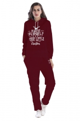 Drawstring Hooded Christmas letter Printed Top Long Sweater Suit Ruby
