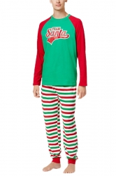 Mens Stripe Santa Printed Christmas Family Pajama Set Green