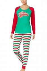 Womens Stripe Santa Printed Christmas Family Pajama Set Red