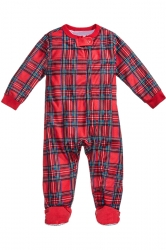 Baby Long Sleeve Striped Family Christmas Footie Pajama Rose Red