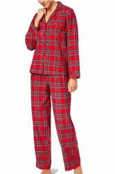 Womens Long Sleeve Striped Family Christmas Pajama Set Red