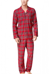 Mens Long Sleeve Striped Family Christmas Pajama Set Ruby