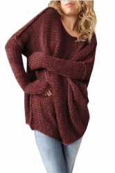 Womens Round Neck Long Sleeve Ribbed Knit Plain Pullover Sweater Ruby