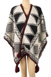 Womens Warm Fringe Shawl Geometrical Pattern Poncho Black And White