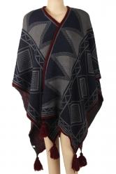Womens Warm Fringe Shawl Geometrical Pattern Printed Poncho Dark Gray