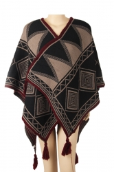 Womens Warm Fringe Shawl Geometrical Pattern Printed Poncho Khaki