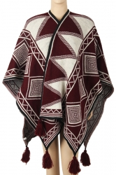 Womens Warm Fringe Shawl Geometrical Pattern Printed Poncho Ruby