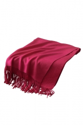 Womens Trendy Warm Shawl Fringe Plain Scarf Rose Red