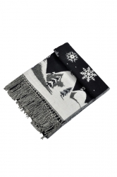 Womens Warm Tassel Snowflake Christmas Tree Printed Scarf Black