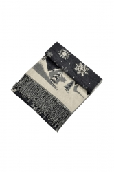 Womens Warm Tassel Snowflake Christmas Tree Printed Scarf Dark Gray