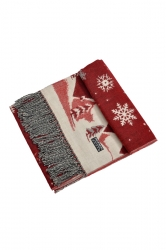Womens Warm Tassel Snowflake Christmas Tree Printed Scarf Orange Red
