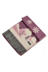 Womens Warm Tassel Snowflake Christmas Tree Printed Scarf Pink