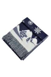 Womens Warm Tassel Snowflake Christmas Tree Printed Scarf Navy Blue