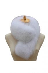 Womens Warm Winter Scarf Plain Long Faux Fur Collar Light Blue