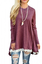 Womens Oversized Long Sleeve Crew Neck Lace Hem Plus Size Top Ruby