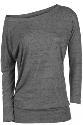 Womens Sexy Close-Fitting Long Sleeve Plain One Shoulder Top Gray