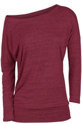 Womens Sexy Close-Fitting Long Sleeve Plain One Shoulder Top Ruby