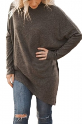 Womens Plus Size Oversized Asymmetric Hem High Collar Plain Top Brown