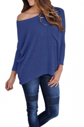 Womens One Shoulder Long Sleeve Oversized Ribbed Knit Sweater Blue