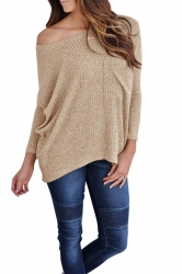 Womens One Shoulder Long Sleeve Oversized Ribbed Knit Sweater Khaki