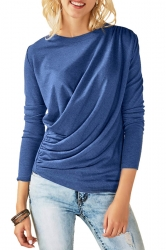 Womens Casual Round Neck Long Sleeve Pleated Plain T-Shirt Blue
