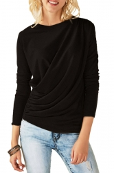 Womens Casual Round Neck Long Sleeve Pleated Plain T-Shirt Black