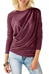 Womens Casual Round Neck Long Sleeve Pleated Plain T-Shirt Burgundy