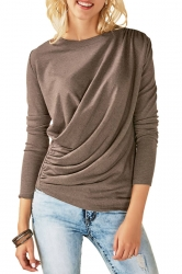Womens Casual Round Neck Long Sleeve Pleated Plain T-Shirt Khaki