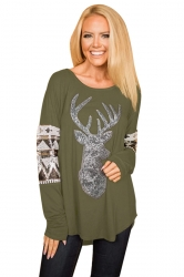 Womens Long Sleeve Reindeer Printed Sequin Christmas T-Shirt Green