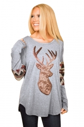 Long Sleeve Loose Reindeer Printed Sequin Christmas T-Shirt Gray